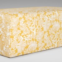 Slipcovered ottoman shown in Robert Allen Gilardia, Honeysuckle