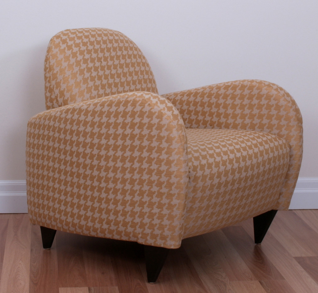 Contemporary slipcovered chair in Waverly fabric by sophia sevo.